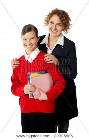 Teacher With Her Student, Posing