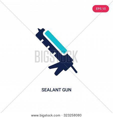 sealant gun icon in two color design style.