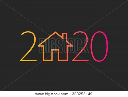 Happy New Year 2020. 2020 With House On Isolated Background