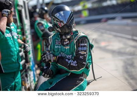 September 07, 2019 - Indianapolis, Indiana, USA: Justin Haley (11) and crew make a pit stop for the Indiana 250 at Indianapolis Motor Speedway in Indianapolis, Indiana.