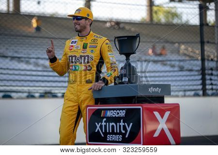 September 07, 2019 - Indianapolis, Indiana, USA: Kyle Busch (18)  celebrates his win for the Indiana 250 at Indianapolis Motor Speedway in Indianapolis, Indiana.
