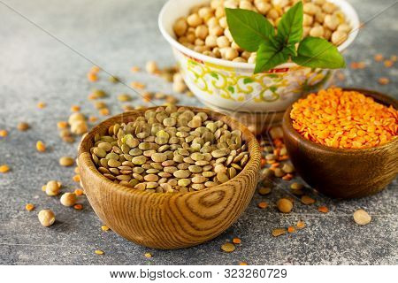 Healthy Food, Dieting, Concept Vegan Protein Source. Raw Of Legumes (chickpeas, Red Lentils, Canadia