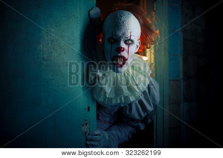 Dnipro, Ukraine - September 8, 2019: Portrait Of A Cosplayer In The Image Of A Pennywise The Dancing
