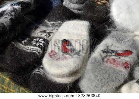 Mittens Are The National Russian And Belarusian Winter Clothes. Mittens Are Connected From Woolen Th