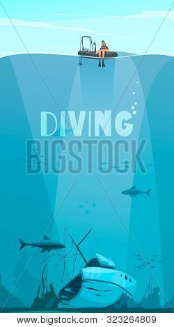 Scuba Divers Exploring Shipwreck Deep In The Ocean Flat Comics Style Composition With Underwater Bac