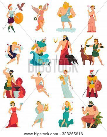 Greek Gods Cartoon Icons Set With Zeus Poseidon Hera Apollo Aphrodite Ares Hades Isolated On White B