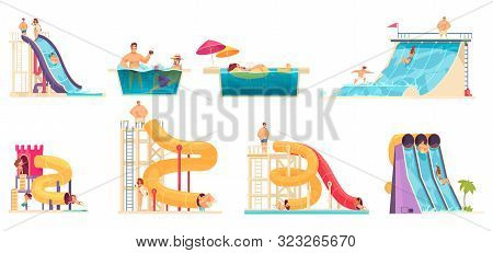 Aqua Park Visitors Enjoying Attractions 8 Comics Cartoon Compositions With Water  Slides Family Jacu