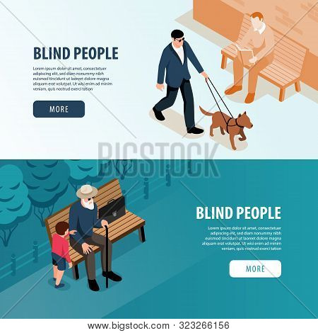 Blind People Outdoor 2 Isometric Horizontal Web Banners With Grandchild Assistance And Guide Dog Wal
