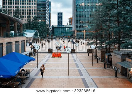 LONDON,UK -JULY 27,2019 : Canary Wharf, the business and financial center of London