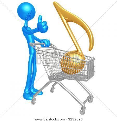 Human Figurine Push Shopping Cart Wi Golden Music
