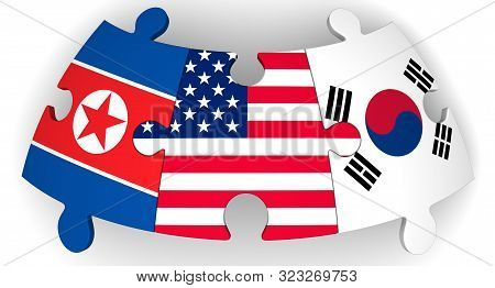 Usa, North And South Korea Collaboration. Puzzles With Flags Of United States Of America, South Kore