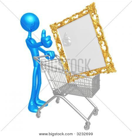 Human Figurine Pushing Shopping Cart With Golden Picture Fram