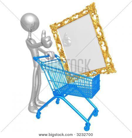 Human Figurine Pushing Shopping Cart With Golden P