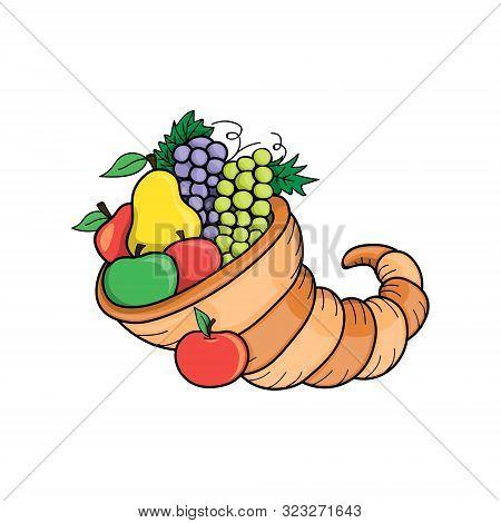 Thanksgiving Day. Vector Illustration Autumn Nature Symbol. Cornucopia Fall Holiday Concept. Farm Ha