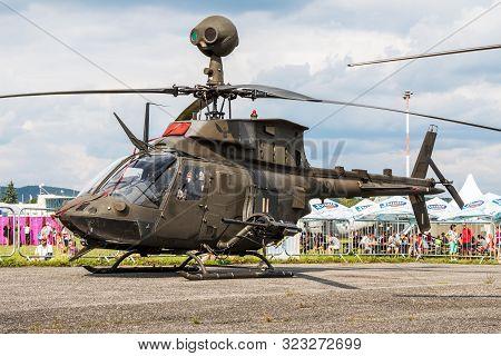 Sliac / Slovakia - August 3, 2019: Croatian Air Force Bell Oh-58d Kiowa Warrior 324 Attack Helicopte