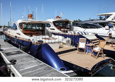 NORWALK, CT, USA - SEPTEMBER 19, 2019: Zeelander 55 shoving on Progressive Norwalk Boat Show Day 1 From September 19-22, 2019.