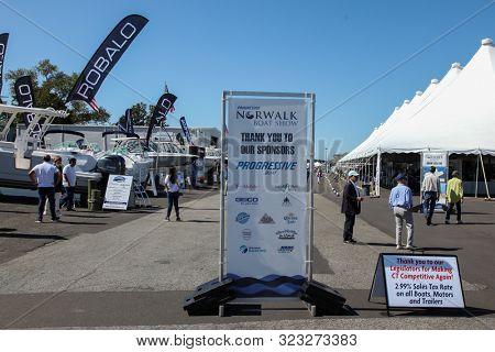 NORWALK, CT, USA - SEPTEMBER 19, 2019:  Progressive Norwalk Boat Show Day 1 From September 19-22, 2019.