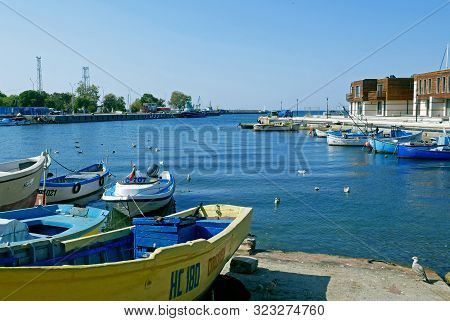 Nessebar, Bulgaria, August 26, 2019 :  Port Of Od Town Of Nessebar, Burgas Region, Bulgaria. Nesseba
