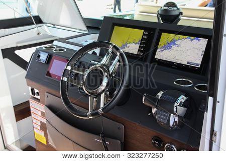 NORWALK, CT, USA - SEPTEMBER 19, 2019: Axopar 37 Cabin control panel shoving on Progressive Norwalk Boat Show Day 1 From September 19-22, 2019.