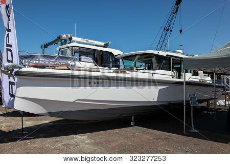 NORWALK, CT, USA - SEPTEMBER 19, 2019: Axopar 37 Cabin shoving on Progressive Norwalk Boat Show Day 1 From September 19-22, 2019.