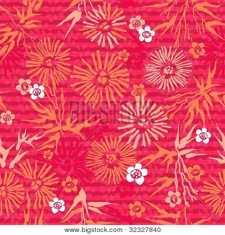 Japanese seamless floral pink pattern. flowers and leaves