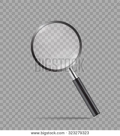Realistic Magnify Glass In Mockup Style On Transparent Background. Detective Concept Loupe With Zoom