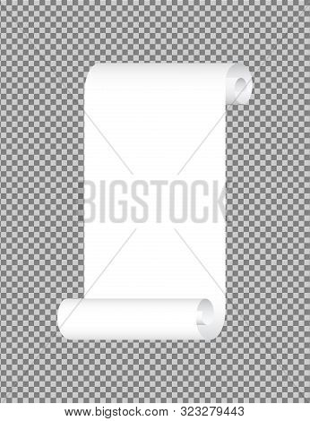 White Paper Ribbon Scroll. Paper Banner Label Curved Corner.empty Blank With Fold Border. Paper Leaf