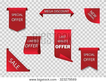 Original Red Ribbon Or Label For Offer Sale. New Design Of Sale Tag, Stickers. Premium Ribbon For Di