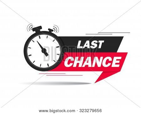 Red Ribbon With Clock And Last Chance Seal. Sale Banner With Countdown Alarm Clock For Retail, Shop,
