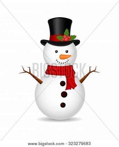 Christmas Snowman With Scarf On Isolated Background. Ice Snow Man For 2020 Winter Holiday. White Car