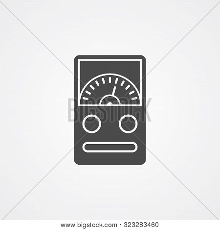 Ammeter Icon Vector, Filled Flat Sign, Solid Pictogram Isolated On White. Symbol, Logo Illustration.