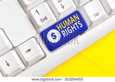 Handwriting text writing Huanalysis Rights. Concept meaning Moral Principles Standards Norms of a showing protected by Law White pc keyboard with empty note paper above white background key copy space. poster