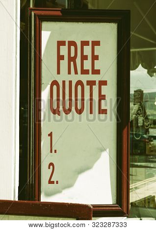 Handwriting text Free Quote. Concept meaning A brief phrase that is usualy has impotant message to convey Empty white board with copy space for advertising. Blank white space for text adding. poster