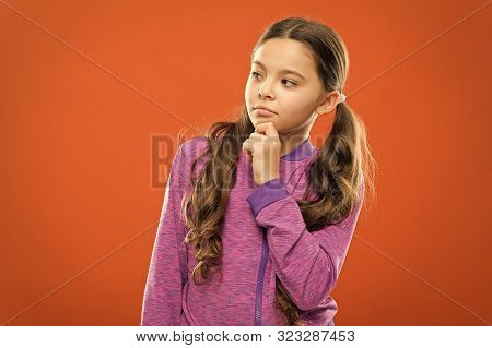 Count In Mind. Kid Thoughtful Face Make Decision. Child Cute Pensive Face Thinking. Girl Casual Look