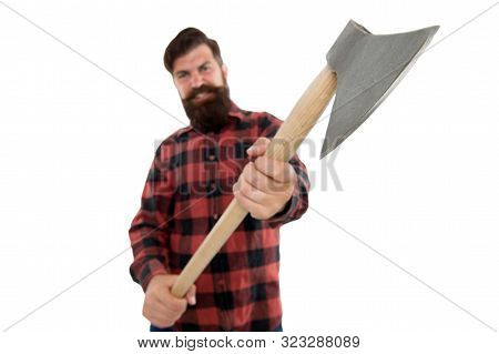 Chop It. Axe Selective Focus. Bearded Man Hold Large Axe Handle Isolated On White. Brutal Lumberjack