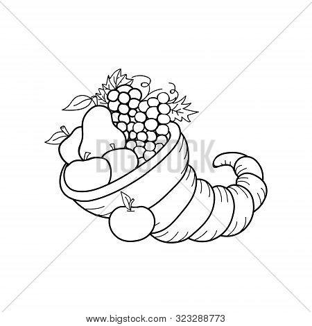 Farm Harvest Festival. Thanksgiving Day. Vector Drawing Cornucopia Fall Holiday. Isolated Outline Au