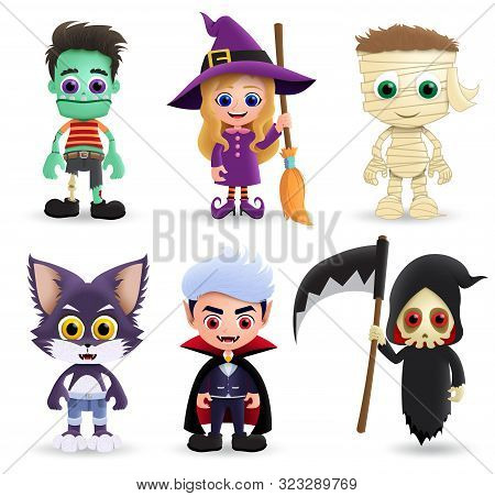 Halloween Characters Vector Set. Halloween Character Creature Of Zombie, Witch, Mummy, Wolf, Vampire