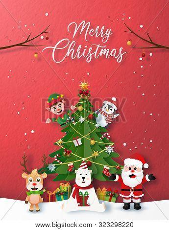 Paper Art, Craft Style Of Christmas Party With Santa Claus, And Christmas Character, Merry Christmas