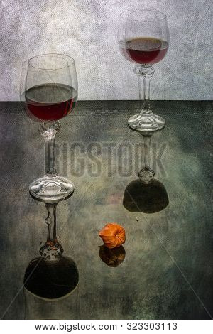 """Still life """"Easy intoxication"""" with glasses of wine and physalis poster"""