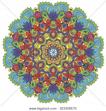Ornamental Round Organic Pattern, Circle Colorful  Mandala  With Many Details On White Background. О