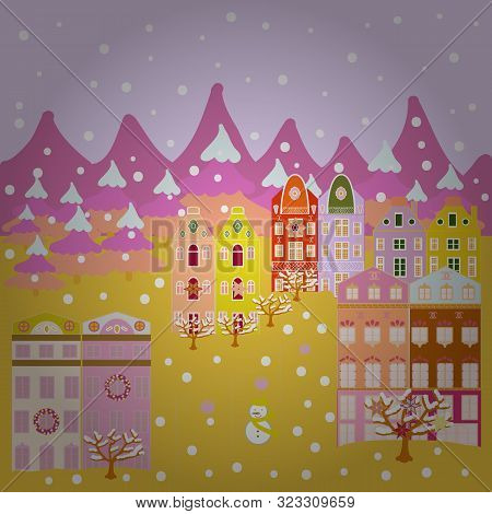 Nordic Nature Landscape Concept. Childish Pattern With House And Trees. Scandinavian Style On Pink,