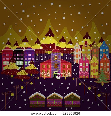 Happy New Year. Cute Buildings On Red, Yellow And Brown Colors. Vector Illustration. Merry Christmas