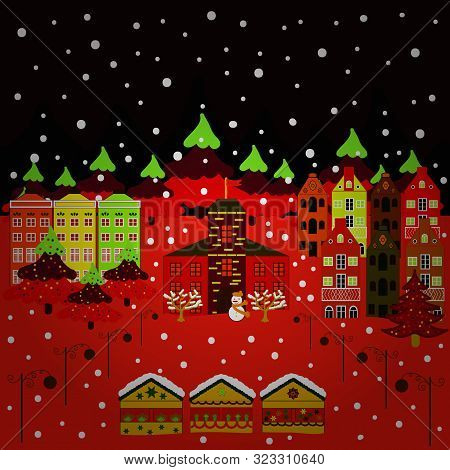 Winter Houses For Christmas And Christmas Fabrics Packaging Paper And Decor On Red, Brown And Black
