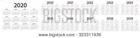 Calendar Spanish 2020, 2021, 2022, 2023, 2024, 2025, 2026, 2027, 2028, 2029 Years. Vector. Week Star
