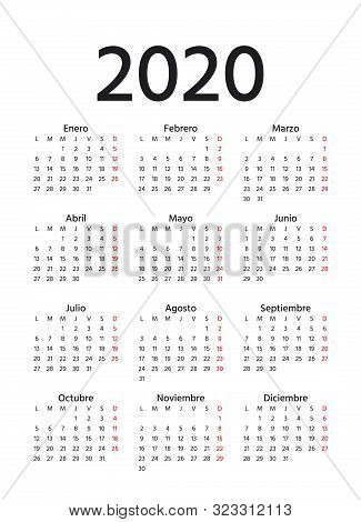 Spanish Calendar 2020 Year. Week Starts Monday. Vector. Spain Calender Template. Yearly Stationery O