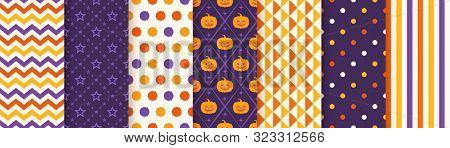 Halloween Pattern. Seamless Haloween Background. Vector. Texture With Zigzag, Star, Pumpkin, Polka D