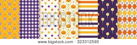 Halloween Pattern. Seamless Haloween Background. Vector. Textile Print With Pumpkin, Candy, Polka Do