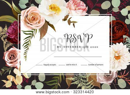 Horizontal Dark Rsvp Frame Card With Leaves And Flowers. Rust Orange Rose, Dahlia, Peony, Ranunculus