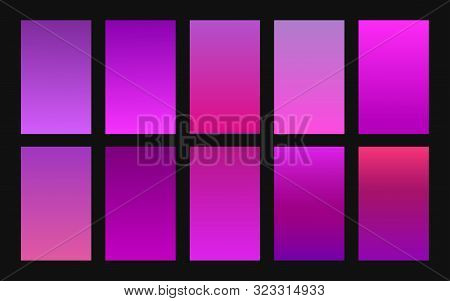 Vector Set Of Gradient Backgrounds Purple Color