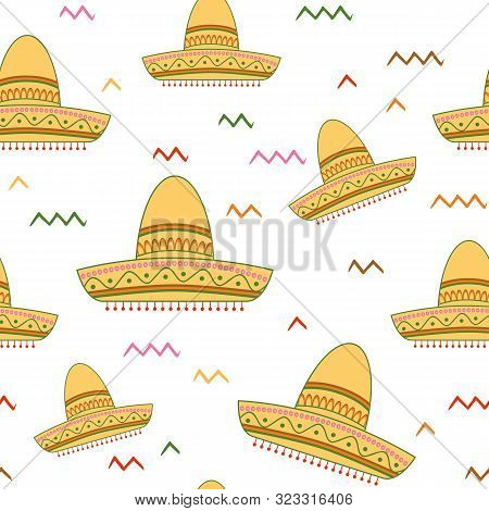 Bright Seamless Vector Background With Mexican Symbols Sombrero Hat